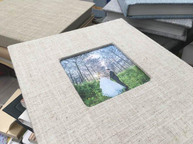 אלבום חתונה אקולוגי בכריכת פשתן ודפים אקוליגים